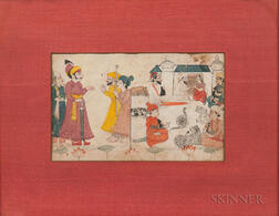 Miniature Painting Depicting a Gathering Scene