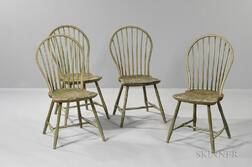Set of Four Light Green-painted Bamboo-turned Bow-back Windsor Chairs