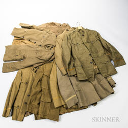 Eight WWI-era Tunics