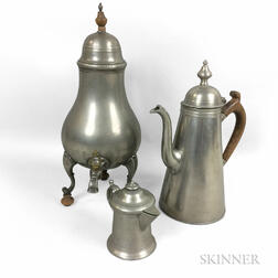 Pewter Coffeepot, Hot Water Urn, and Cream Pitcher