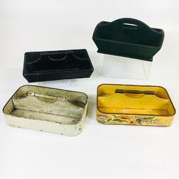 Four Painted Cutlery Trays