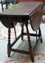 William & Mary Birch Drop-leaf Gate-leg Table with End Drawer.