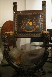 Renaissance Style Carved Oak and Tooled Leather Upholstered Armchair