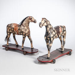 Two Carved and Painted Horse Pull Toys