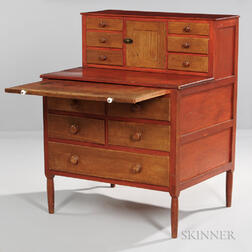 Shaker Red-painted Maple and Butternut Sewing Desk