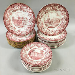 Thirty-six Wedgwood Ceramic Harvard Plates