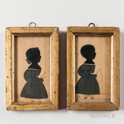 Pair of Full-length Silhouettes of Children