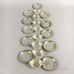 Eleven Sterling Silver-mounted Glass Coasters and Eight Gorham Sterling Silver Nut Dishes