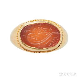 24kt Gold and Carnelian Intaglio Ring, Hilat