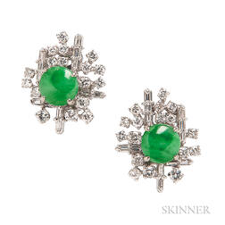 18kt White Gold, Jade, and Diamond Earclips