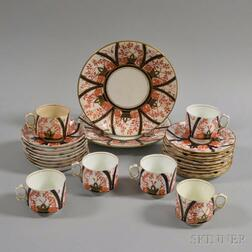 Twenty-six Pieces of English Transfer-decorated Imari-palette Ceramic Tableware