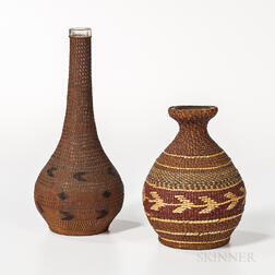 Two Northwest Coast Basketry Bottles