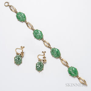 14kt Gold and Jadeite Bracelet and Pair of Matching Earclips