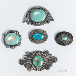 Five Navajo Silver and Turquoise Pins