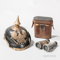 Model 1895 Prussian Officer's Pickelhaube, and a Pair of Cased Fernglas 08 Binoculars