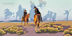 Billy Schenck (American, b. 1947)      Monday Morning at the T.E. Ranch