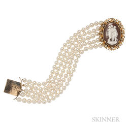 Cultured Pearl Five-strand Bracelet with Shell Cameo Clasp