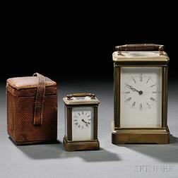 Two Brass and Glass Carriage Clocks
