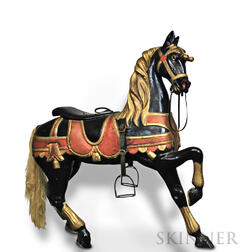 Paint-decorated and Carved Carousel Horse