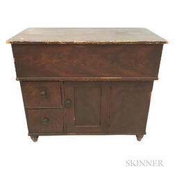 Country Red-painted Pine Lift-top Commode