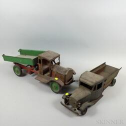 Five Painted and Stenciled Pine and Tin Trucks