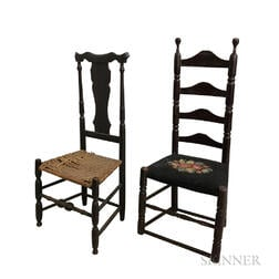 Two Black-painted Side Chairs