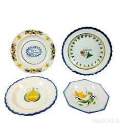 Four Staffordshire Pearlware Ceramic Plates