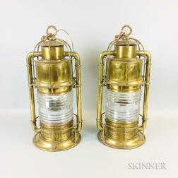 Pair of Brass Ship's Lanterns