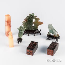 Seven Carved Hardstone Items