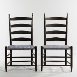 """Pair of Shaker Production """"No. 5"""" Black-stained Shaker Chairs"""