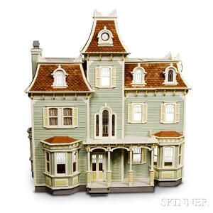 Large Victorian Painted Two-story Dollhouse.