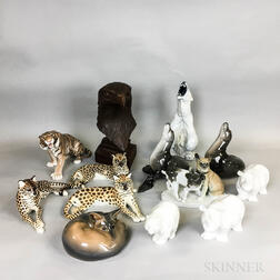 Thirteen Ceramic Animals