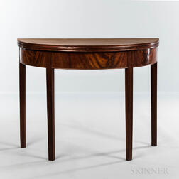 Federal Carved Mahogany and Mahogany Veneer Demilune Card Table
