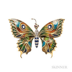 18kt Gold and Enamel Butterfly