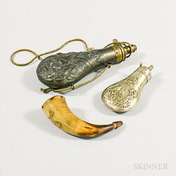 Two Metal Powder Flasks and a Small Engraved Powder Horn