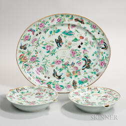 Three Rose Canton Table Items