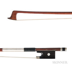 French Nickel-mounted Violin Bow, Victor Fetique, c. 1915