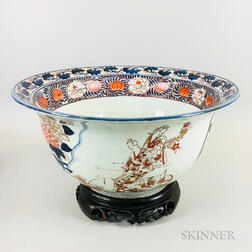 Large Chinese Imari Porcelain Punch Bowl