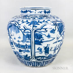 Blue and White Lobed Jar