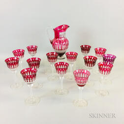 Fifteen St. Louis Cranberry Cut-to-clear Glass Items