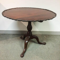 Chippendale-style Carved Mahogany Dished Piecrust Tilt-top Tea Table