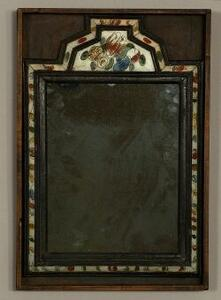 Eglomise and Wood Courting Mirror