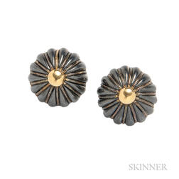 18kt Gold and Carved Hematite Earclips, Tiffany & Co.
