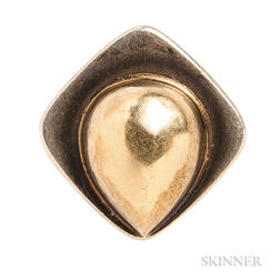 Pierre Cardin Sterling Silver and 14kt Gold Modernist Ring