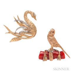 Two 14kt Bird Brooches