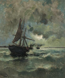 Arvid Claes William Johanson (Swedish, 1862-1923)    Moonlight Sea with Sailing and Steam Vessels