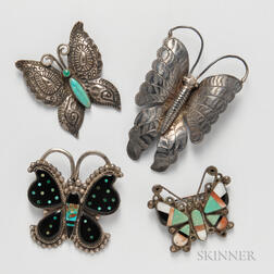 Four Southwest Butterfly Pins