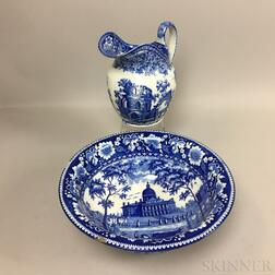 Staffordshire Blue and White Transfer-decorated Pitcher and Bowl
