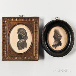 Two Silhouette Portraits of Older Women