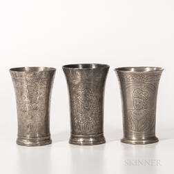 Three Early Dutch Commemorative Beakers